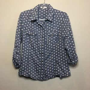 Kut from the Kloth Polka Dot Button Down Blouse E1